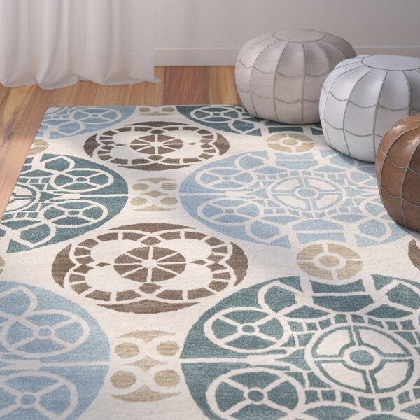 Kouerga Hand-Tuffed Wool Blue/Beige Area Rug by Bungalow Rose