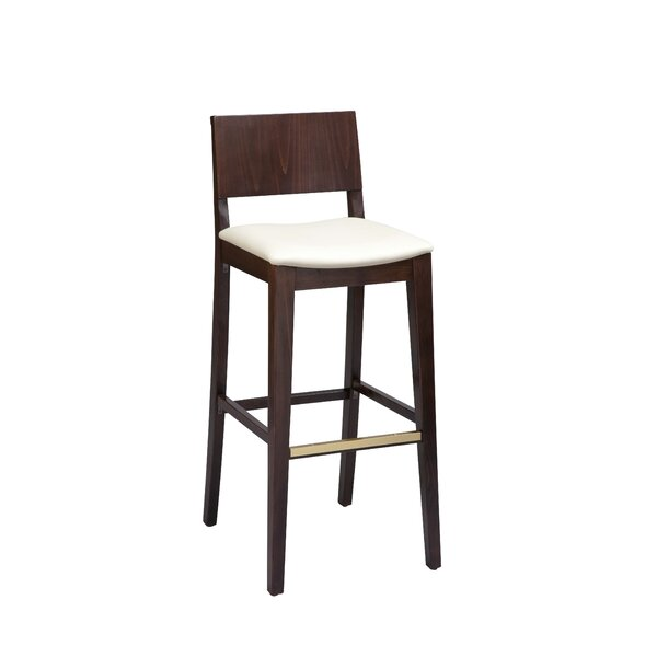 Otwell Beechwood Solid Back Upholstered Bar Stool by Brayden Studio