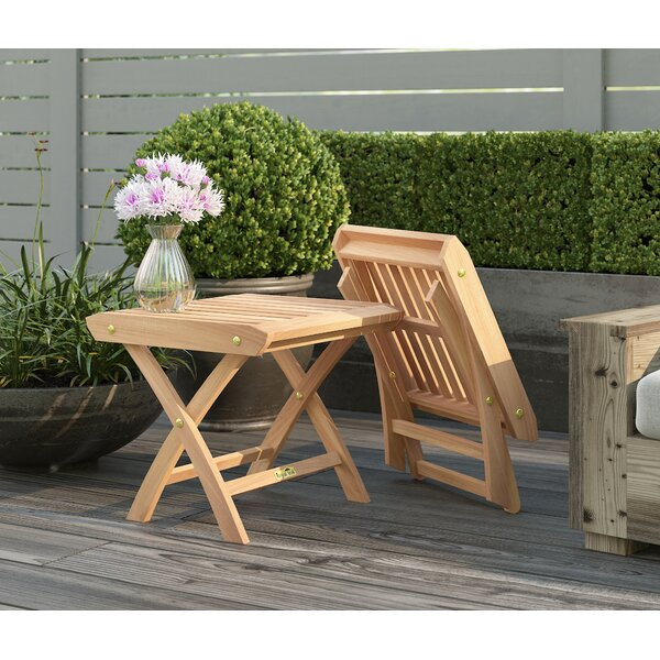 Braydon Folding Teak Side Table (Set of 2) by Rosecliff Heights