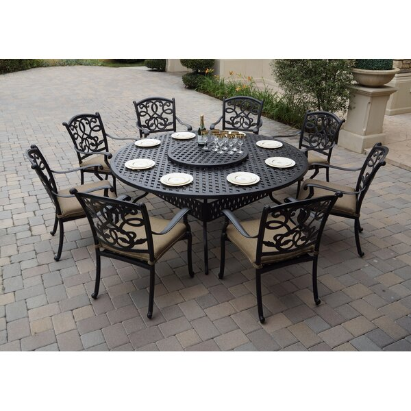 Windley 9 Piece Dining Set with Cushions by Fleur De Lis Living