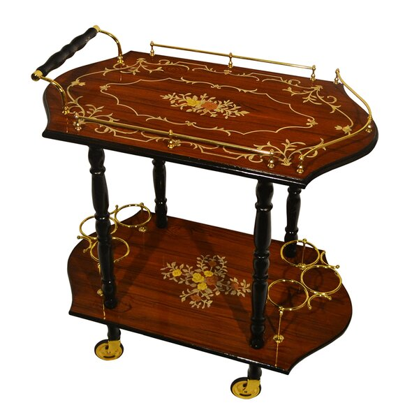 Poole Inlaid Wood Beverage Bar Cart by Astoria Grand