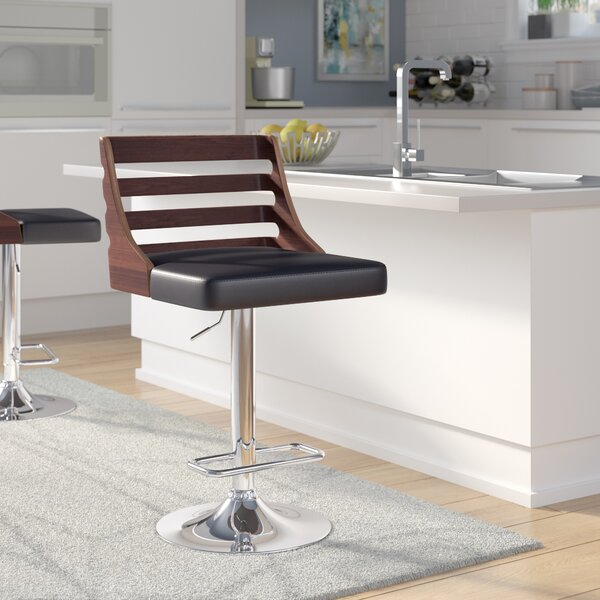 Bridges Adjustable Height Swivel Bar Stool by Wade Logan
