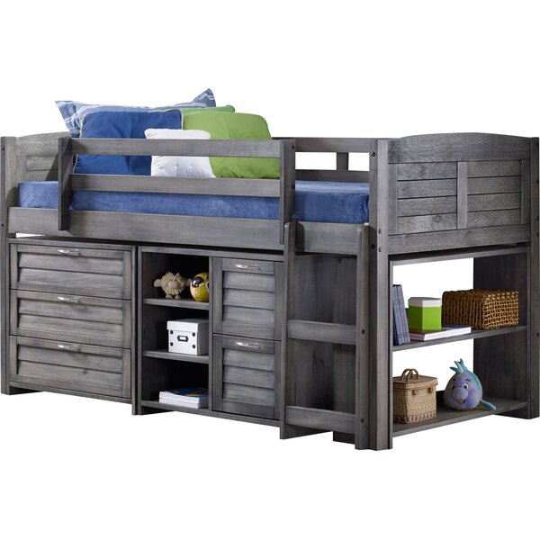 Twin Low Loft Slat Bed with Bookcase, Chest and Shelves and Drawer Chest by Birch Lane™