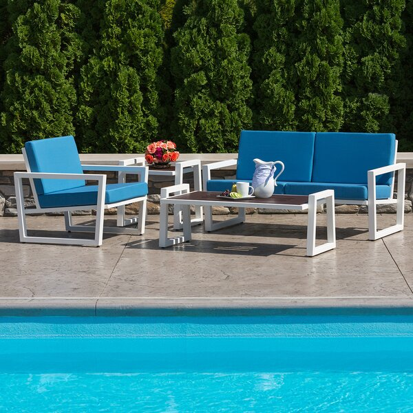 Waubun 4 Piece Sunbrella Sofa Seating Group with Cushions by Brayden Studio
