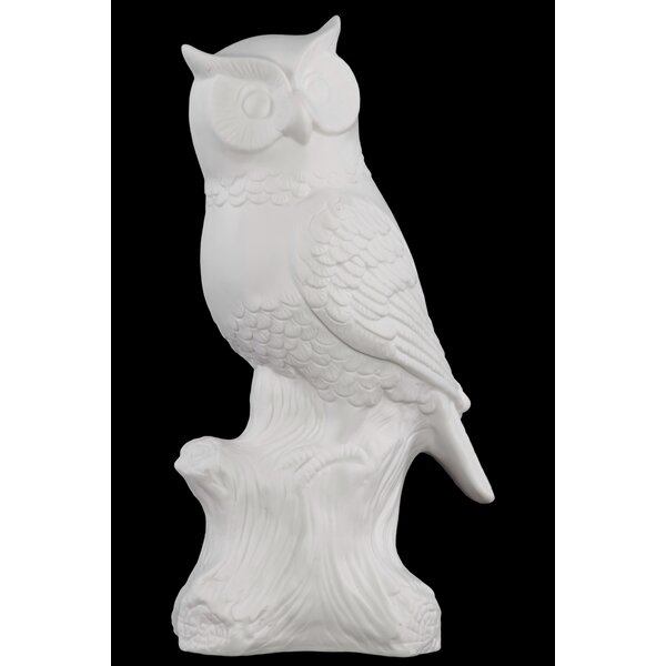 Porcelain Owl on a Tree Stump LG Gloss White by Urban Trends