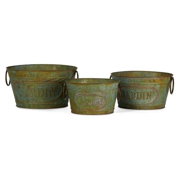 Illuminating 3-Piece Iron Pot Planter Set (Set of 3) by Benzara