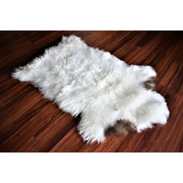 Briones Animal Print Handmade 1'11 x 2'11 Sheepskin White/Brown Indoor / Outdoor Area Rug