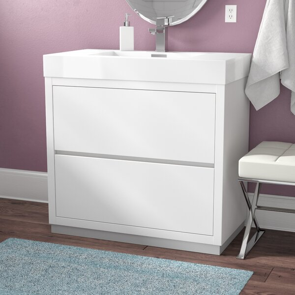 Trower 36 Single Free Standing Modern Bathroom Vanity Set by Wade Logan