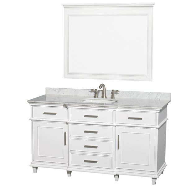 Berkeley 60 Single White Bathroom Vanity Set with Mirror by Wyndham Collection
