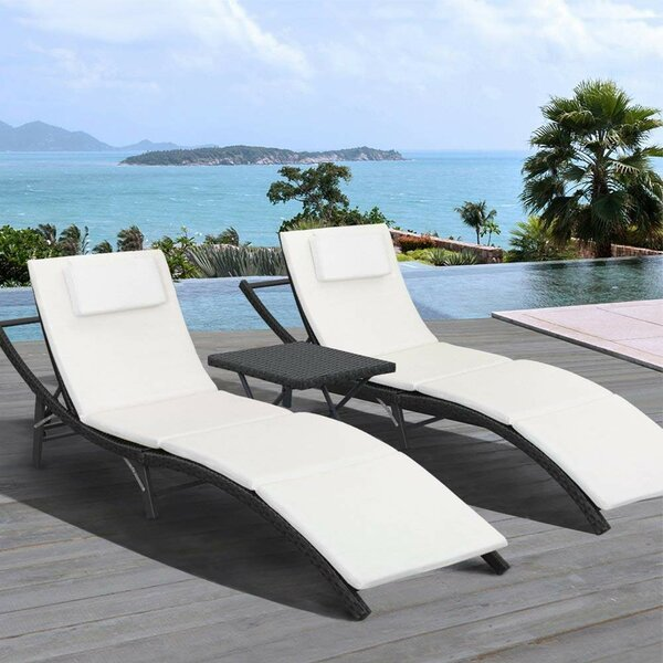 Raminez Reclining Chaise Lounge With Cushion And Table (Set Of 2) By Ebern Designs