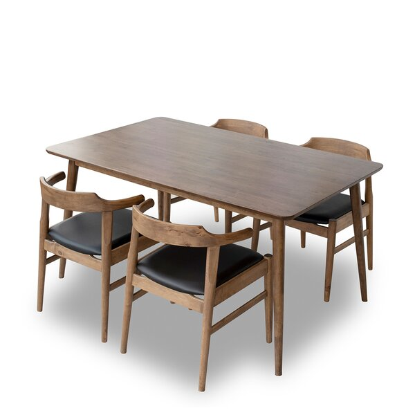 Erdenheim Mid-century 5 Pieces Solid Wood Dining Set by Union Rustic Union Rustic