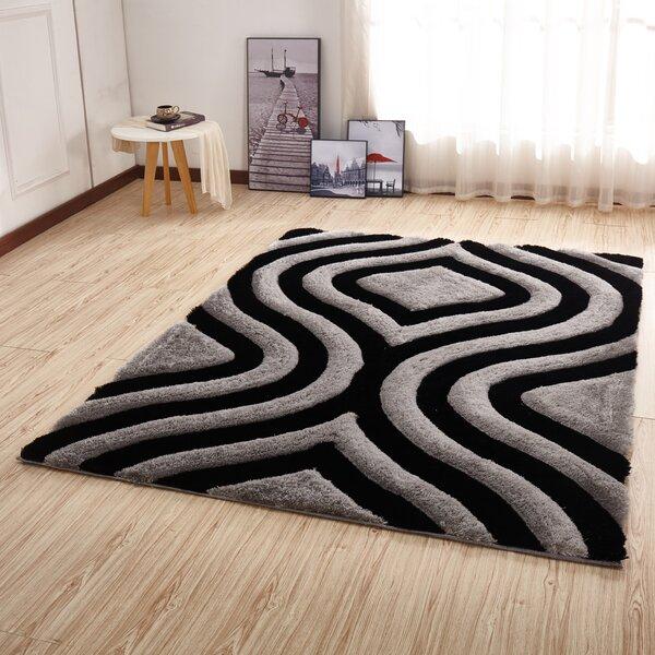 Kleiber Shaggy 3D Rectangle Gray/Black Area Rug by Orren Ellis