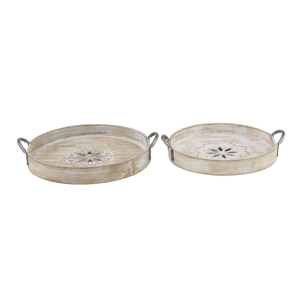 Chaney Round Wood 2 Piece Accent Tray Set by Ophelia & Co.