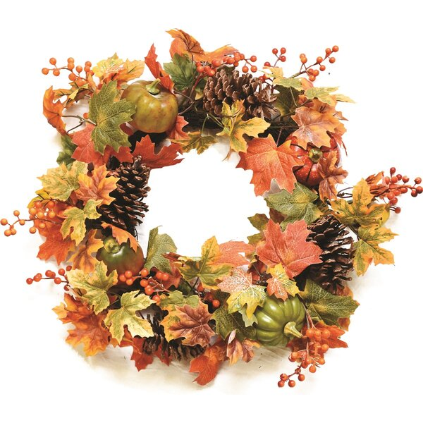 Autumn Harvest 20 Decorative Artificial Fall Leaves, Pinecones, Pumpkins and Berries Wreath by Northlight Seasonal