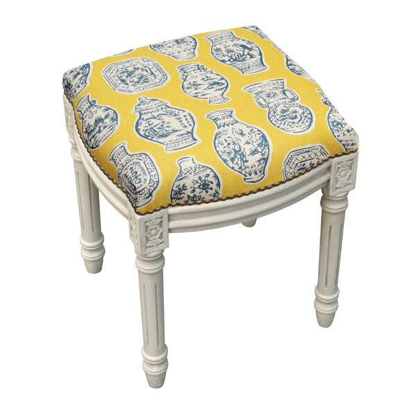 Chinoiserie Porcelain Linen Upholstered Wooden Vanity Stool by 123 Creations
