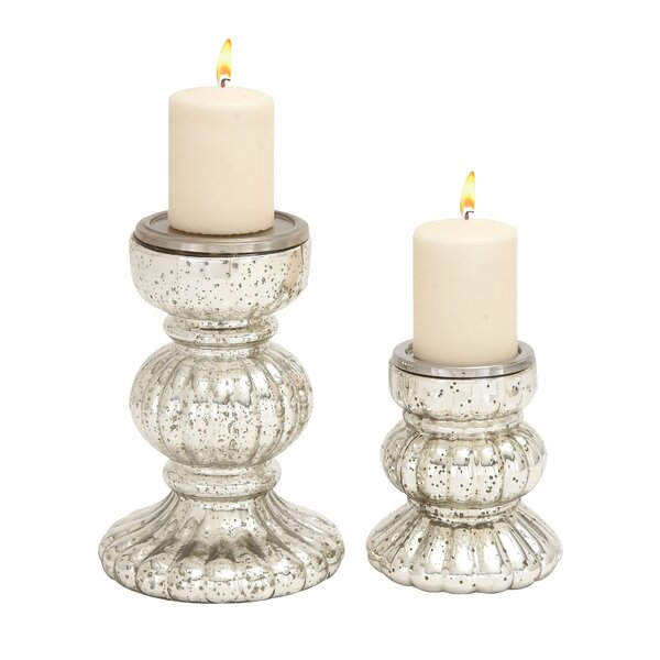 2 Piece Glass Candlestick Set by One Allium Way