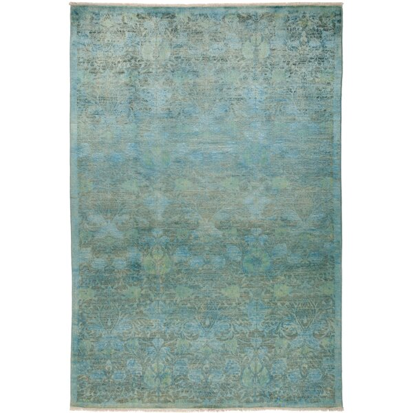 One-of-a-Kind Pritt Hand Knotted Green Area Rug by One Allium Way