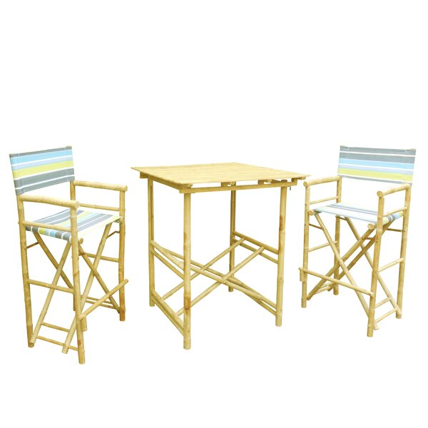 3 Piece Bar Height Dining Set with Cushion by ZEW Inc