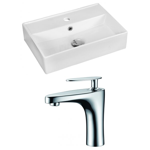 Ceramic 20 Bathroom Sink with Faucet and Overflow