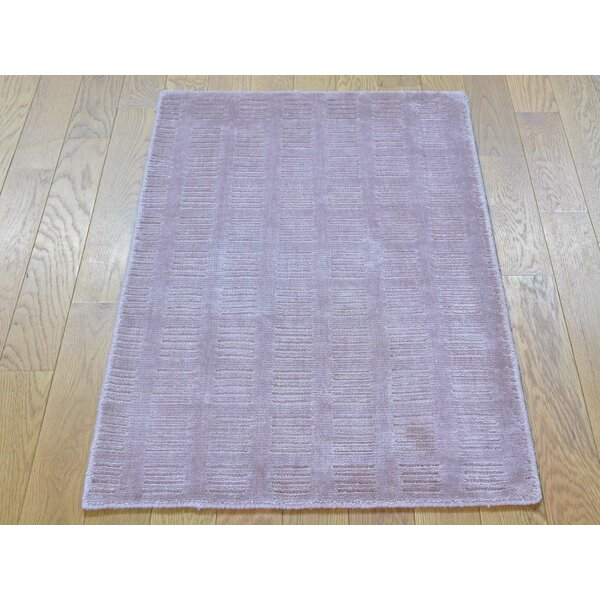 One-of-a-Kind Bianca Art Handwoven Purple Silk Area Rug by Isabelline