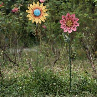 2 Piece Sunflower Garden Stake Set