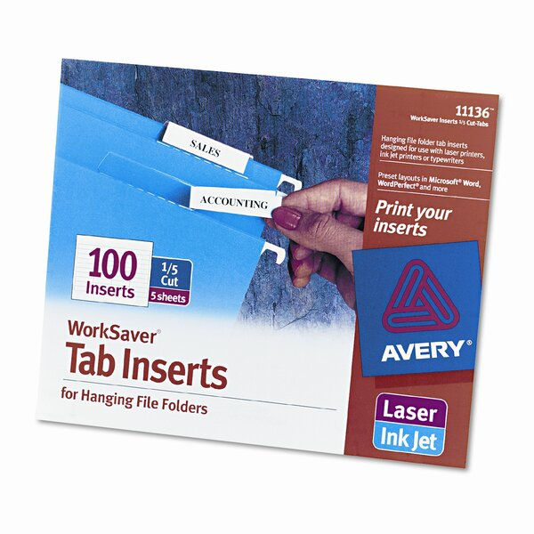 Printable Inserts for Hanging File Folders (100/Pack) by Avery Consumer Products