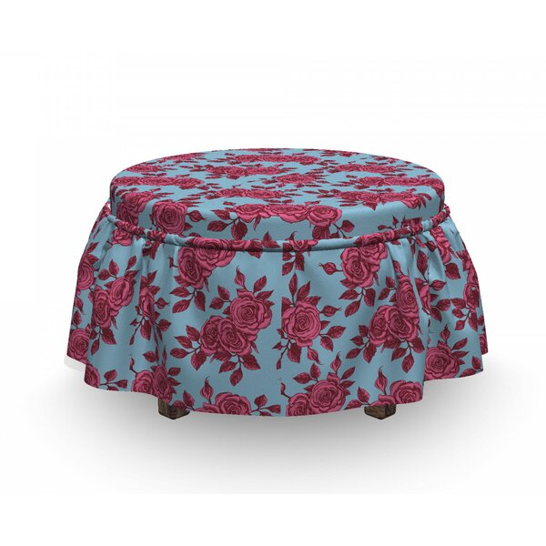 Sketchy Flowers In Pink Shades Ottoman Slipcover (Set Of 2) By East Urban Home