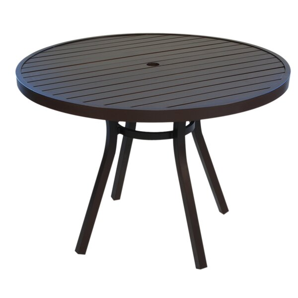 Lux Round Umbrella Aluminum Dining Table with Slat Top by Lloyd Flanders