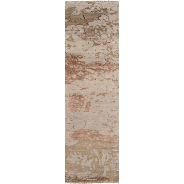 Moises Hand-Knotted Taupe Area Rug by Williston Forge