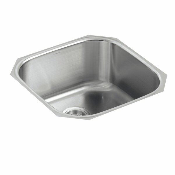 Undertone 19-5/8 L x 19-5/8 W x 9-3/4 Extra-Large Rounded Under-Mount Single-Bowl Kitchen Sink by Kohler