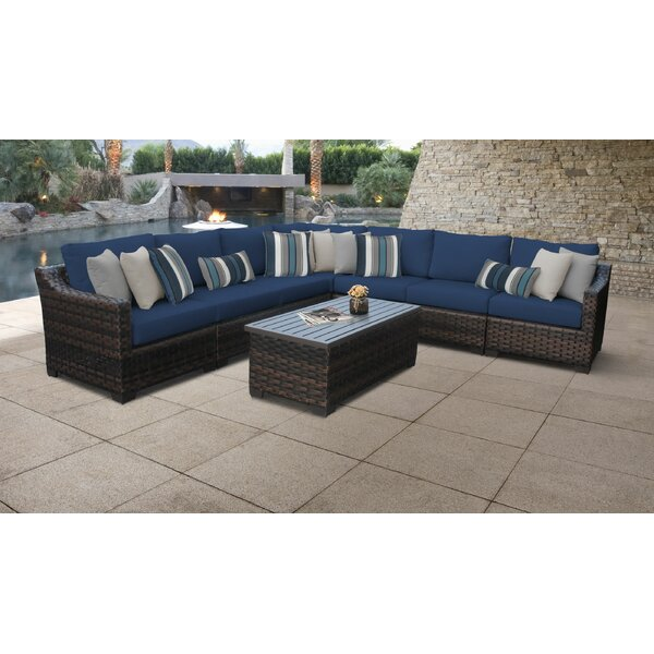 River Brook Outdoor 8 Piece Sectional Seating Group with Cushions by kathy ireland Homes & Gardens by TK Classics