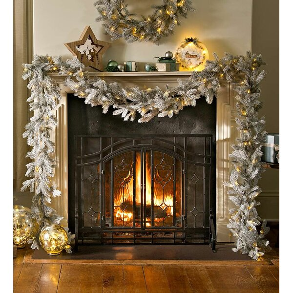 Frosted Grandis Fir Garland with Light by Plow & Hearth