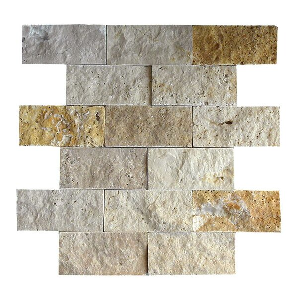 2 x 4 Natural Stone Mosaic Tile in Gold/Noce by QDI Surfaces