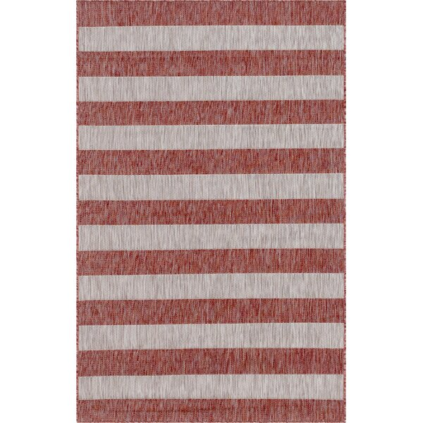 Holt Red/Gray Indoor/Outdoor Area Rug by Breakwater Bay