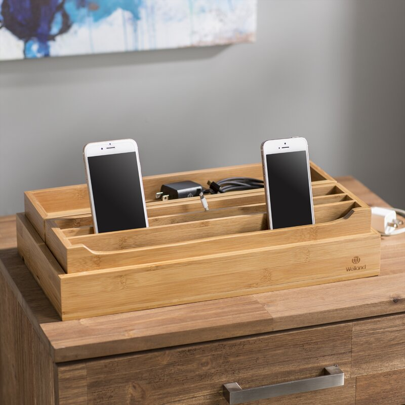 3 Piece Eco Friendly Bamboo Multi Device Organizer Charging Station And Dock Set
