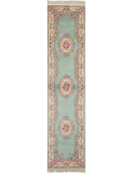 Link Hand Knotted Wool Light Green Area Rug by August Grove