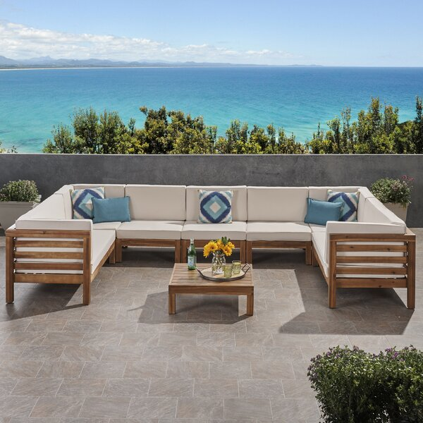 Zaina Outdoor 2 Piece Teak Sectional Seating Group with Cushions by Longshore Tides