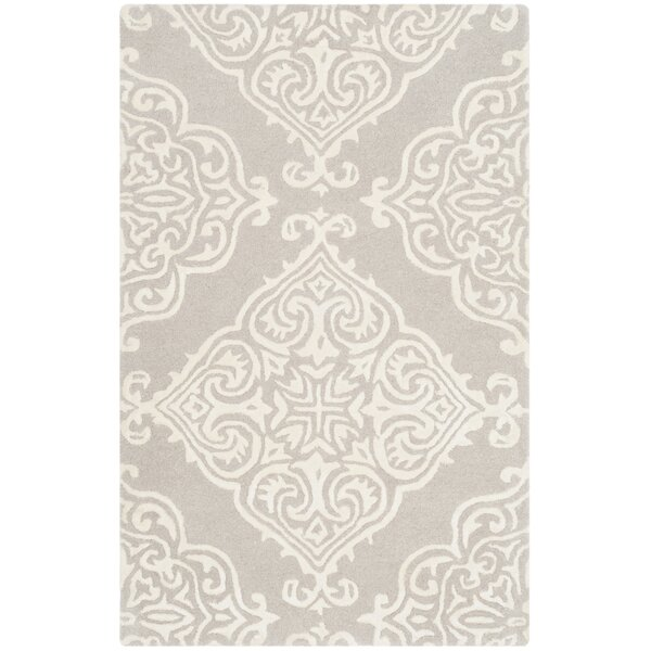 Bernon Hand-Tufted Silver/Ivory Area Rug by One Allium Way