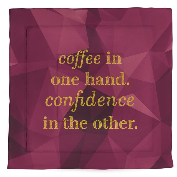 Coffee & Confidence Quote Single Reversible Comforter
