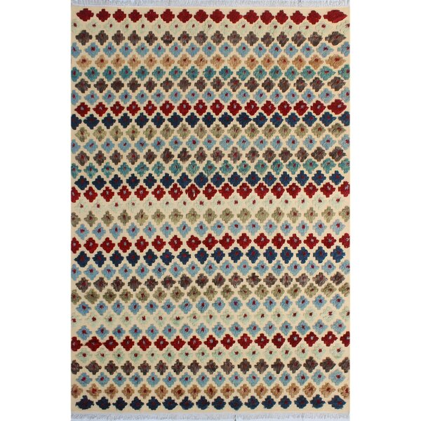 One-of-a-Kind Abasi Hand-Knotted Wool Beige/Blue Area Rug by Isabelline