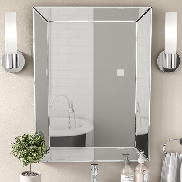 mirrors in the bathroom wade logan rectangle silver vanity wall mirror amp reviews 19540