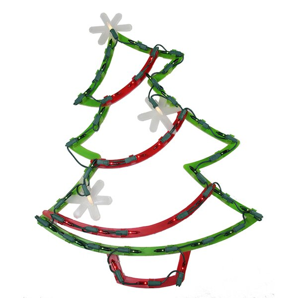 Lighted Christmas Tree with Star Ornaments Window Silhouette Decoration by The Holiday Aisle