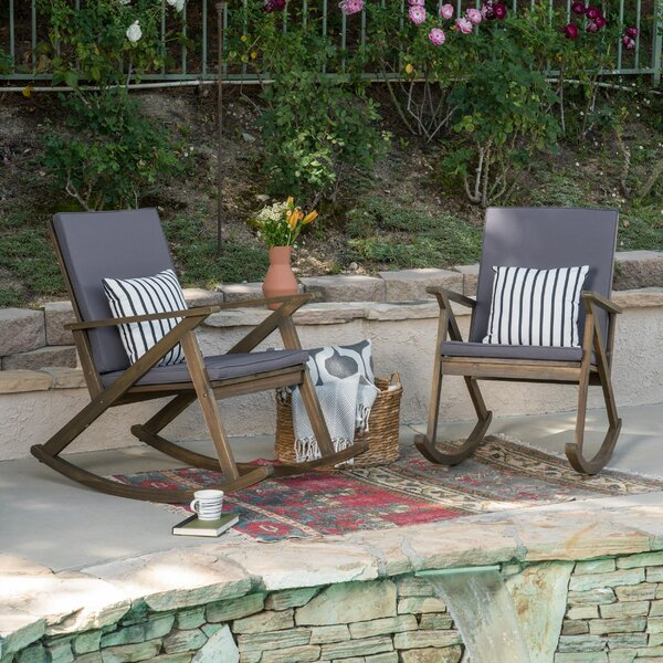 Ossu Outdoor Rocking Chair with Cushions (Set of 2) by Union Rustic
