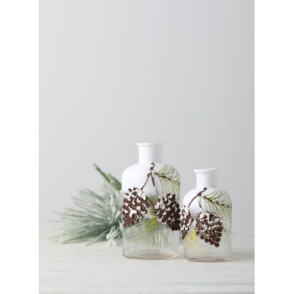 Trudell Glass Pinecone 2 Piece Decorative Bottle Set by The Holiday Aisle
