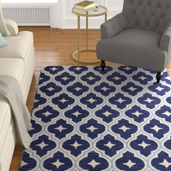 Norbert Hand-Tufted Navy Area Rug by Alcott Hill