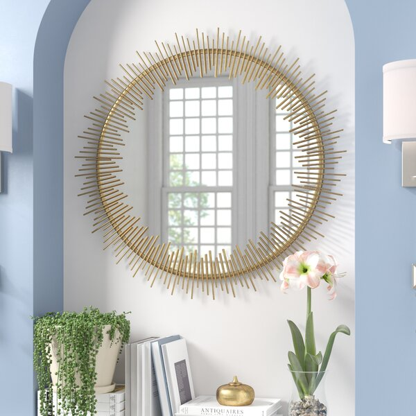 Wald Round Sunray Circle Wall Mirror by Mercer41