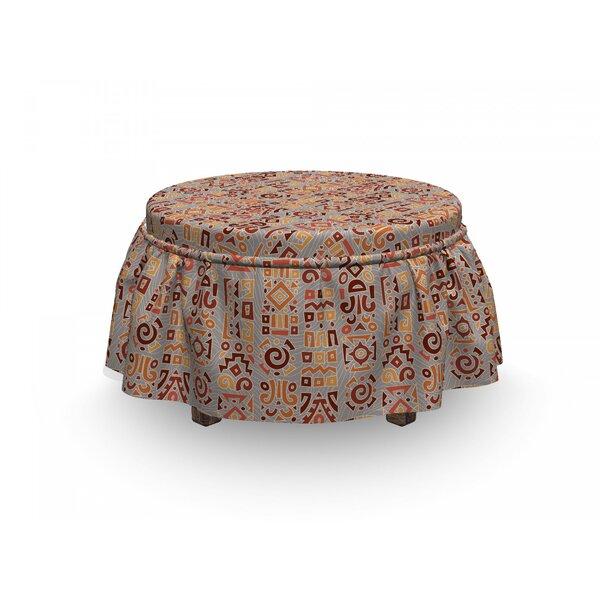 Tribal Doodle 2 Piece Box Cushion Ottoman Slipcover Set By East Urban Home