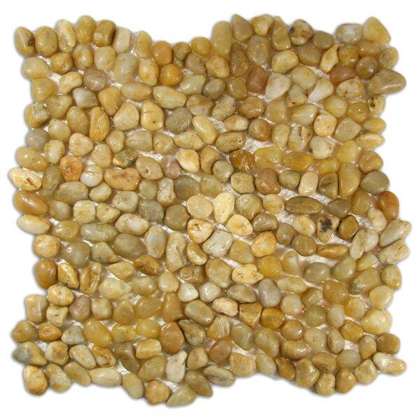 Yenisei Random Sized Natural Stone Mosaic Tile in Amber by CNK Tile