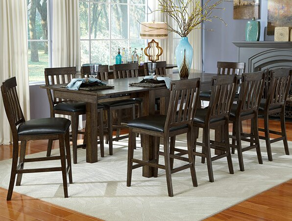 Lolington 11 Piece Solid Wood Dining Set by Loon Peak