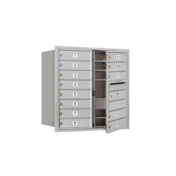 Recessed USPS 14 Door Front Load 4C Horizontal Mail Center with 1 Parcel Locker by Salsbury Industries